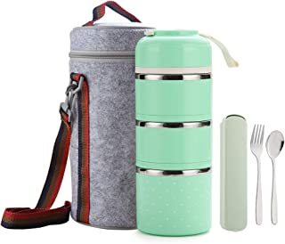 WORTHBUY Bento Lunch Box Stainless Steel Leakproof Food Storage Containers with Insulated Lunch Bag for Adults Women Men Kids (Green,3 tier)