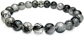 TOURMALINATED Quartz 8mm Round Genuine Crystal Gemstone Beaded Bracelet on Elastic Cord