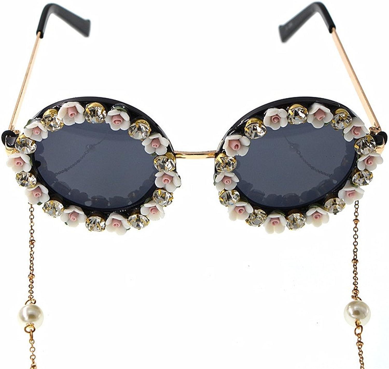 LIDESMUKG Romantic Pink pink Handmade Metal gold Flower Baroque Sunglasses for Women Crystal Eyewear Retro Style Tassel Chain Sunglass