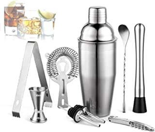 Cocktail Shaker 9Pcs Set 750ml Martini Kit with Measuring Jigger, Mixing Spoon, Muddler, Liquor Pourers, Drink Recipes Boo...
