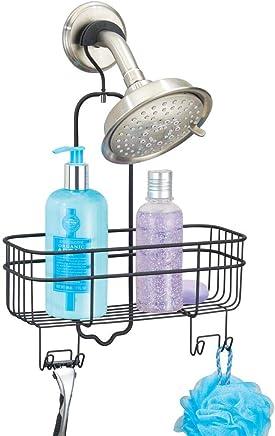 mDesign étagère de douche sans perçage – valet de douche à suspendre avec panier de rangement et 4 crochets – serviteur de douche en métal durable – noir mat