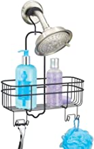 mDesign Shower Caddy - Shower Organiser with 4 Hooks and Basket - Hanging Shower Caddy With Hook for Easy Installation - S...