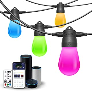 Govee Connectable WiFi Smart Outdoor String Light, DIY Color Changing Waterproof String Lights, Support Alexa/Google Home/Bluetooth/Remote Control for Patio, Fence, Wedding, Party 24ft 6 Bulbs