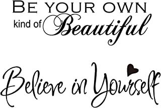 2 Sheets Believe in Yourself Wall Decals Wall Quote Sayings Vinyl Inspirational Wall Decals Words Letters Decor for Bedroo...