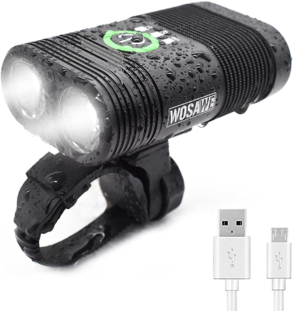 WOSAWE Bike Light OFFicial Recommendation USB Rechargeble 2-XPE H Waterproof LED Cycling