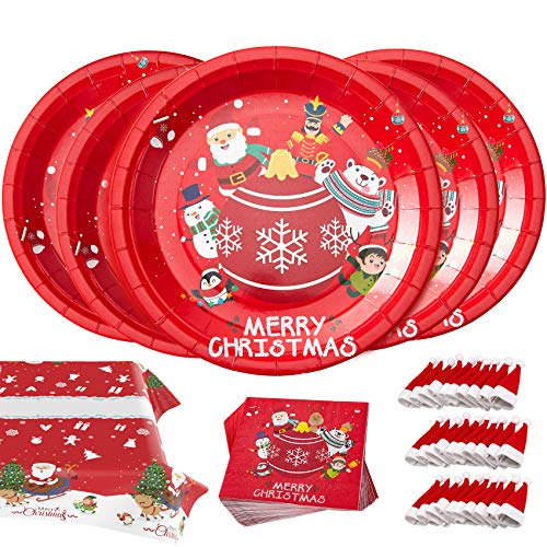 Christmas Party Supplies Disposable Dinnerware Set Serves 30 Guests Perfect Xmas Party Pack for Santa Christmas Themed Parties 121 Pcs