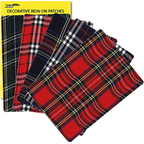 """ZEFFFKA Premium Quality Large Plaid Tartan Fabric Iron-on Patches Inside & Outside Strongest Glue 100% Cotton Repair Decorating Kit Jeans Modern Cool Design 5 Pieces Size 5"""" by 7"""" (13 cm x 18 cm)"""