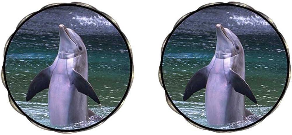 GiftJewelryShop Bronze Retro Style Happy Cute Dolphin Photo Clip On Earrings Flower Earrings #12