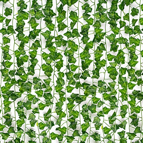 HATOKU 12 Pack Fake Ivy Fake Vines Artificial Vines Leaves Garlands Greenery Hanging Plants for Room Party Wedding Wall Decoration, 84 Feet