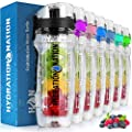 Hydration Nation (34oz Capacity) Infusion Water Bottle - Fruit Infused Water Bottles With Flip Top Lid & Anti-Slip Rubber Grip - BPA Free Infused Water Bottle With Infusion Rod & Time Tracker (Black)