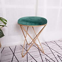 Wood Step Stool Round Dressing Table Stool Metal Solid Color Padded Cushion Concave Seat Vintage Piano Chair Makeup Seat f...