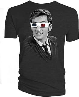 Men's 10th Doctor 3D Glasses T-Shirt Black