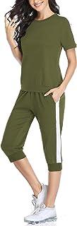 Aibrou Survêtement Femme Ensembles Sportswear T-Shirt et Pantalons de Sport 3/4 Casual Jogging Pyjama d'Intérieur Tenue Co...
