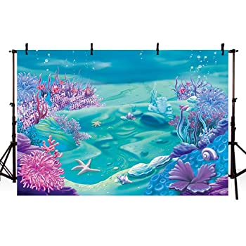 Mermaid 10x15 FT Photo Backdrops,Cute Mermaid Playing with Her Hair Folk Mythical Character Princess Background for Baby Birthday Party Wedding Vinyl Studio Props Photography Turquoise Fuscia White