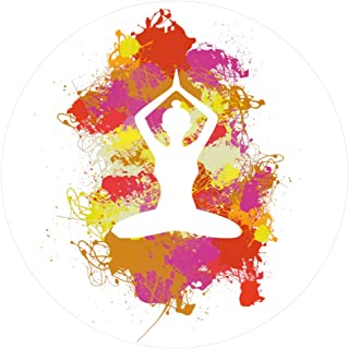 1art1 Silhouettes Sticker Adhesive Decal - Yoga Lotus Pose, Paint Splatters (4 x 4 inches)