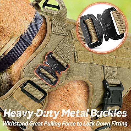 """Rabbitgoo Tactical Dog Harness Vest Medium with Handle, Military Dog Harness Working Dog Vest with MOLLE & Loop Panels, No-Pull Adjustable Training Vest, Tan, Medium Size, Chest (25.4-36.0"""")"""