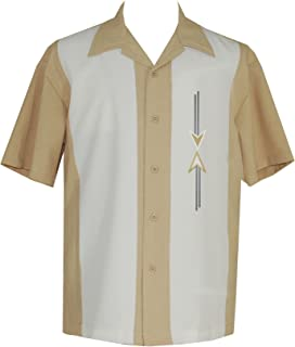 Mens Camp Shirt, Vintage Cuban Style Bowling Shirt ~ Tom Collins ~ Guayabera Dress Shirt Style