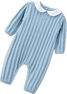 zhbotaolang Girl Knit Romper Winter Jumpsuit-Kid Cotton Pajamas (80cm Light Blue)