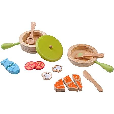Topf und Pfannenset Kochgeschirr Küche Zubehör aus Holz für Kinder EverEarth
