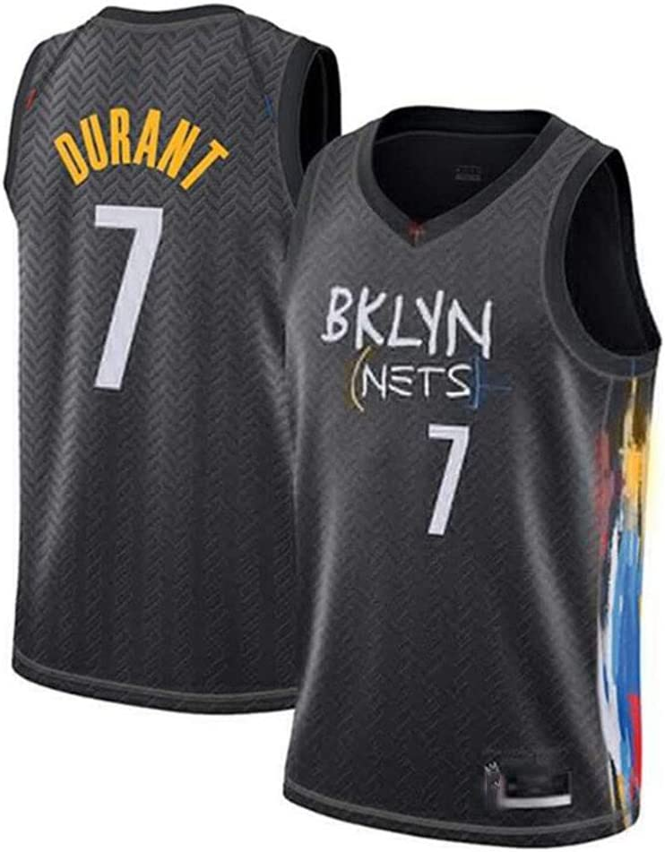 165~170CM//50~65KG CXJ Mens Basketball Jerseys,Brooklyn Nets #7 Kevin Durant Jersey,Embroidered Breathable Fabric Sleeveless Vest,S
