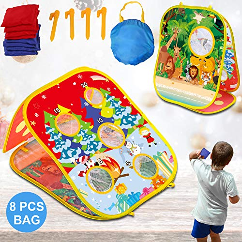IROO Bean Bag Toss Game Toy for Toddlers Age 3 4 5 6 Year Old, Gift for Boys Birthday and Christmas, Collapsible Double Sided Outdoor Cornhole Board with 8 Benbags for Kids Indoor Outdoor Cornhole