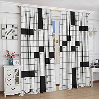 zojihouse Word Search Puzzle Blank Newspaper Style Crossword Puzzle with Numbers in Word Grid Blackout Drapes Black and White Window Drapes for Bedroom W72xL63