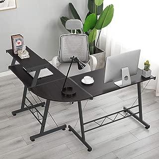 Soges L-Shaped Corner Computer Desk with Upper Shelf, E1 Solid Laptop PC/Computer Table Workstation Desk Home Office Desk, DX-402C1-BK