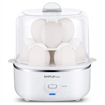 SimpleTaste Electric Egg Cooker Egg Boiler for Hard or Soft Boiled, Poached, Omelets and Steamed Foods with Auto Shut Off Feature and 2 Tiered, 10 Eggs