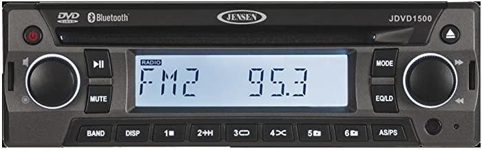 Jensen JDVD1500 Single-DIN 12-Volt AM/FM/CD/DVD/Bluetooth Player with Credit Card-Size Remote Control, Bluetooth Audio, Electronic AM/FM Tuner, Single DVD/CD Player (DVD, CD-A, CD-R/RW), MP3 Support