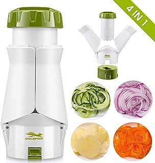 GOLDFOX Cortador en espiral 4 en 1 de verduras, cortador en espiral, rallador de verduras para patatas, pepinos, calabaza, calabacines, cebolla, espaguetis de verduras, verde