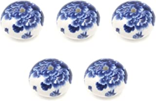 """Karcy Ceramic Knobs Blue and White Flower Painted Vintage Look Round Ceramic + Iron 66x40mm/2-3/5x1-4/7""""(HxD) Large Blue a..."""