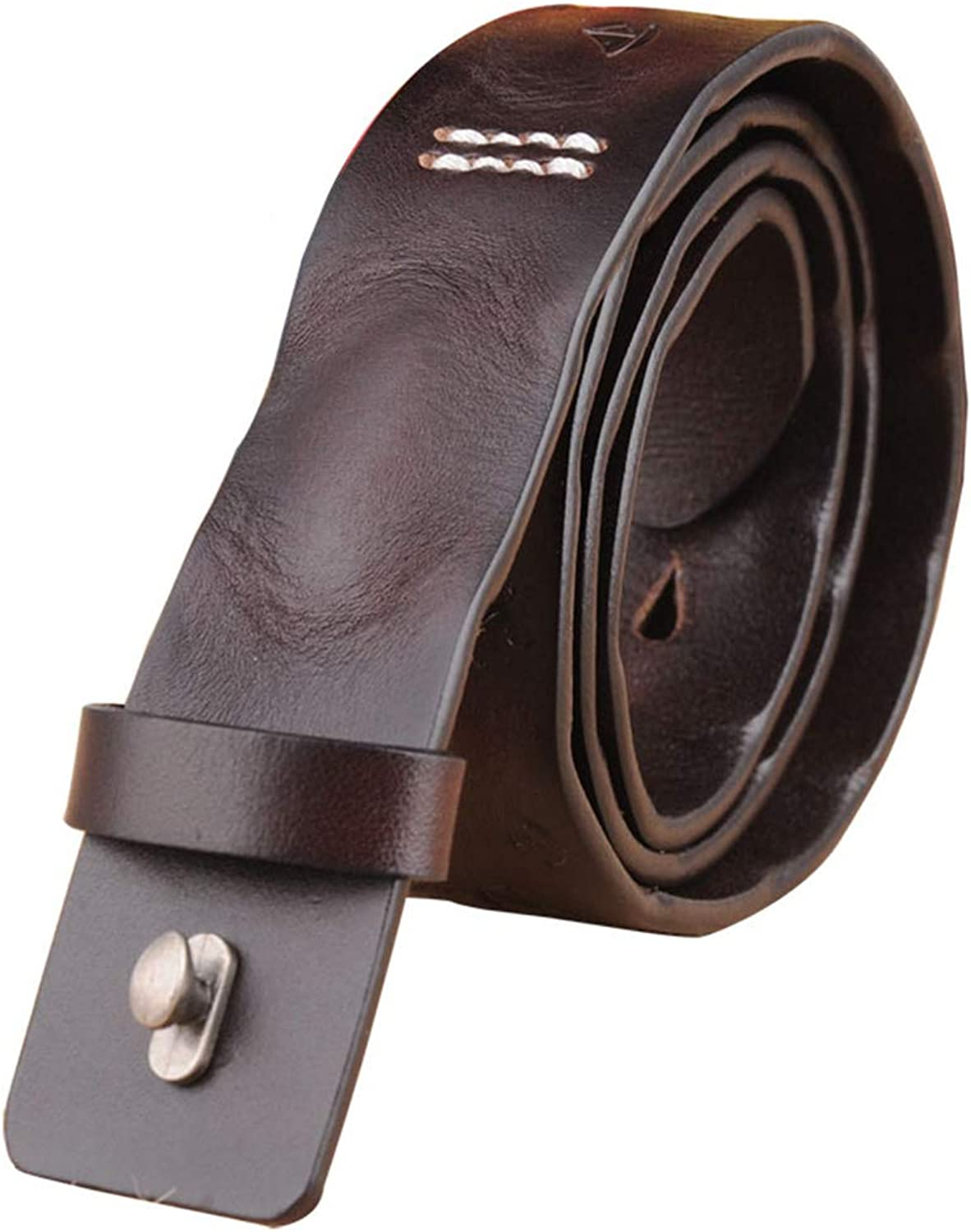 Belt Ladies Leather Top Layer Pure Leather Smooth Buckle Single Layer Leather Belt Casual (color   Brown)