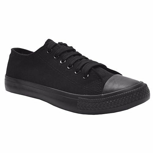 e3a3f205da8c81 MyShoeStore Ladies Canvas Shoes Womens Girls Shoes Casual Lace Up Retro  Plimsolls Plimsoles Low Top Flat