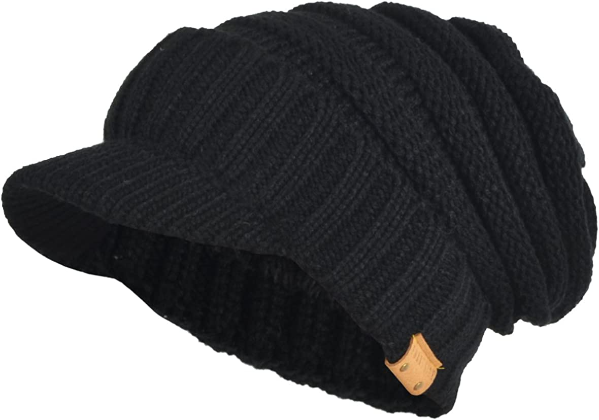 Mens Womens Thick New item Fleece Lined Knit Newsboy Ha Limited time trial price Beanie Cap Slouch