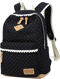 Mädchen Segeltuch Rucksack Lace Polka Punkt Schulrucksack Süße und Moderne Schultasche Große Kapazität für Schule Outdoor Camping Ausflug Schwarz