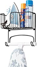 mDesign Wall Mounted Ironing Board Holder - Steel Ironing Board Rack for Easy Organisation - Includes Basket for Iron Stor...