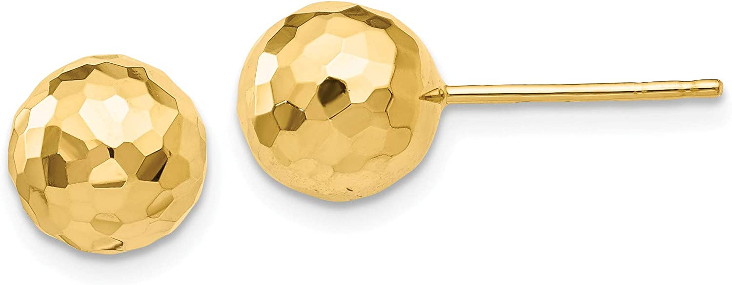 14K Gold Polished and Diamond Cut 8MM Ball Post Earrings, 14k Yellow Gold