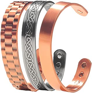 Earth Therapy, The Original Pure Copper Magnetic Healing Bracelets - Adjustable - for Men - Elegant Jewelry Gift Set of 3 in Velvet Pouch