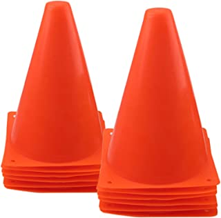 Best Mirepty 7 Inch Plastic Traffic Cones Sport Training Agility Marker Cone for Soccer, Skating, Football, Basketball, Indoor and Outdoor Games Review