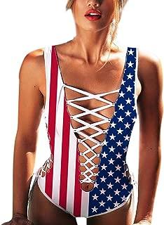 MTENG Fashion Women Swimwear Geometric Printed Push-Up Bikini Bandage One-Piece 4th of July Independence Day