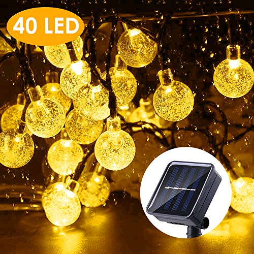 B-right Solar String Lights Outdoor, 40 LED 25ft Solar Powered Crystal Ball String Lights 8 Mode with Remote String Lights Waterproof for Halloween, Christmas, Home, Patio, Garden, Wedding and Party