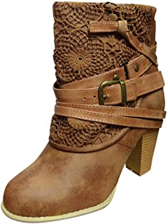 Jesper Women Wide Ankle Booties Classic Roma Lace Stitching Low Stacked Heel Round Toe Suede Comfy Boots