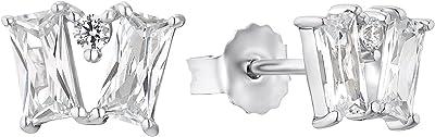 s.Oliver , Boucles d'oreille à bouton pression Argent Oxyde de Zirconium femme, Argenté, klein - 2032592