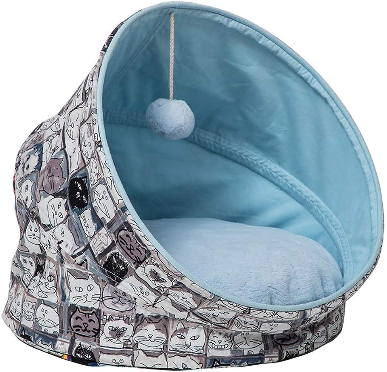 Fulitanghuang Cat Litter Cat Nest Cat Sleeping Bag Mat Summer Cat Nest House, Closed Villa Cat House Cat Bed, bluee, 45x45x43cm