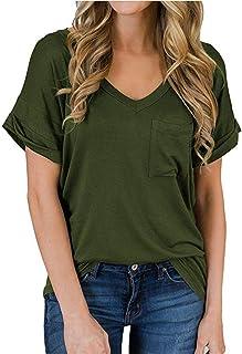 XJSGS Women's Short Sleeve V-Neck Shirts Loose Casual Tee T-Shirt