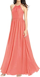 Jonlyc A-Line Halter Chiffon Open Back Long Bridesmaid Dresses Evening Gowns