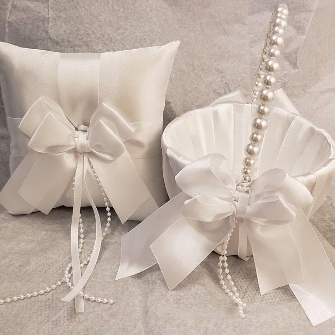 Max 75% OFF Flower Girl Basket and Ring Bearer Pillow White Wedding W Mail order cheap Decor