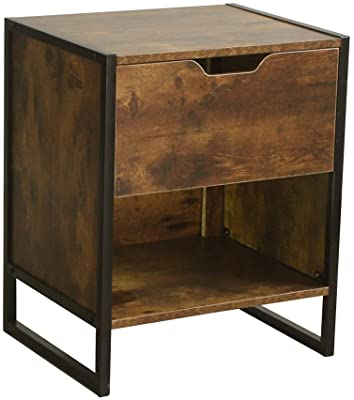 Nutmeg Brown Finish Black Frame Nightstand Side End Table with Drawer and Open Storage