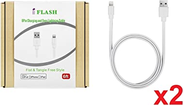 [2Pack, Apple MFi Certified] iFlash 6ft Long Lightning to USB Sync & Charge Cable for iPhone Xs MAX/XR/XS/X / 8 Plus / 7 / 6S / 6 / SE / 5S, iPad Air 4/5/6 2017 2018, Mini 2/3/4, iPod Touch 5/6