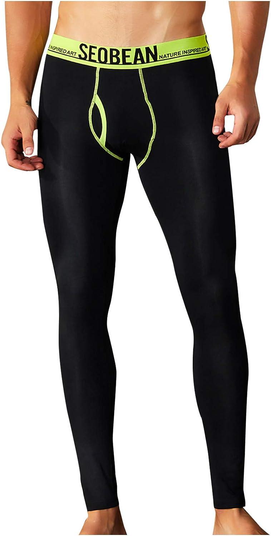 Men's Low Rise Stretchy Winter Warm Base Layer Leggings Long Bottoms Thermal Pant